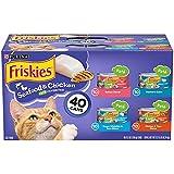Purina Friskies Pate alimento húmedo para gatos, paquete variado; mariscos y pollos favoritos – (40) 5.5 oz. Latas