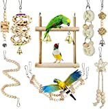 Juguetes para Pájaros, CAMITER 8 Piezas Pájaros Juguetes con Campanas, Escalera de Madera, Columpios, Juguetes para Masticar para pequeños y medianos Loros de Aves
