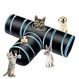 PHYLES Túnel para Gatos, Prima 3 Vías Tubo para Gatos, PET Plegable Divertido Juego Juguete Tubo de Gatos, Juguete con Pompón y Campanas para Gato, Gato Jugar Túnel Casa del Laberinto(Negro y Azul)