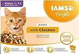 IAMS Delights Alimento húmedo en salsa, para gatitos con pollo, 12 x 85 g