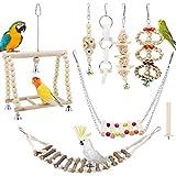TAECOOOL 8 juguetes de madera para loros, loros, pájaros, pajareras, campanas colgantes de madera natural, juguetes adecuados para cacatúas, finillos, periquitos, periquitos