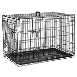 Jaula para perros (76cm) – Jaula plegable de metal negro con 2 puertas (frontal y lateral) con bandeja base de plástico resistente a la masticación y asa de transporte (mediano)