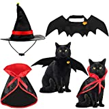 Frienda 5 Piezas Disfraz para Gato de Halloween Alas de Disfraz de Murciélago Capa de Gato Sombrero de Mago con Campanas de Calabaza para Disfraz de Mascota de Halloween