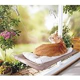 PETPAWJOY cama para gato, ventana, ventana, ventosa, ventosas, ahorro de espacio, hamaca para gato, asiento de seguridad para gatos, proporciona un baño de sol de 360° para gatos con peso de hasta 30 libras