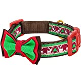 Blueberry Pet Christmas Santa Claus's Reindeer Holiday Season Dog Collar with Bow Tie, Medium