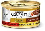 Purina Gourmet Comida húmeda para Gatos Gold Délicatesse en Salsa, con Vacuno y Pollo, 12 Unidades, 85 g
