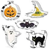 Crethink Juego de cortadores de galletas de Halloween 5 piezas cortador de galletas formas de acero inoxidable cortador de galletas calabaza, murciélago, fantasma, gato, sombrero de mago