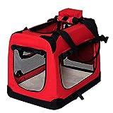dibea Bolsa de Transporte para perros gatos box caja plegable (M) 60x42x44 cm Rojo