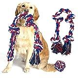 3 Piezas Grande Juguetes para Perros, Algodón Durable Masticable Juguetes de Cuerda para Perros, Juguetes de Limpieza de Dientes de Perro, Juguetes interactivos para Perros