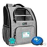 PetAmi Deluxe - Mochila para transportar mascotas para gatos pequeños y perros, cachorros por diseño ventilado, entrada de doble cara, características de seguridad y cojín de apoyo para viajes, senderismo, uso al aire libre