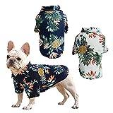 RoxNvm Camiseta de Verano para Perros, Camisas de Perro Hawaiano, Playera para Perros Estilo Resort de Playa, Ropa de Perro Transpirable de Moda para Cachorros, 2 Piezas, Azul y Blanco (Grande)