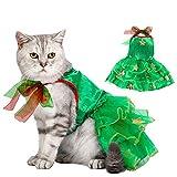 Dorakitten Ropa de Navidad para Gatos, Verde Ropa para Gatos, Vestido de Gato de Navidad, Víspera de Todos los Santos Traje de Gatito de Gasa de Pavo Real Vestido de Fiesta de Gatito Talla M