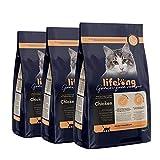 Marca Amazon Lifelong Alimento seco para gatos adultos esterilizados con pllo fresco, receta sin cereales - 3kg * 3