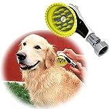 Wondurdog - Lavado de perro al aire libre con adaptador de metal | Se fija a manguera de jardín estándar | innovador cepillo de ducha con escudo antisalpicaduras | Mantén el agua lejos de orejas de perro, ojos y tú mismo!