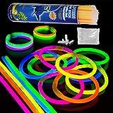 Paquete de Fiesta de 200 barritas Luminosas con 200 Conectores 7 Colores Barras Luminosas fluorescentes 20cm Glow Sticks Collares pulseras fluorescentes para Fiestas,eventos, Bodas, cumpleaños