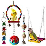 Bwogue - Juego de 5 piezas de hamacas colgantes para pájaros y loros, para colgar, juguetes, para pequeños periquitos, cacatúas, conuras, guacamayos, loros, pájaros, pinzones