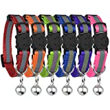 Reflective Cat Collar with Bell, Set of 3, Solid, Nylon, Mixed Colors, Cool Pet Cat Collars, for Small Dogs, by Bemix …