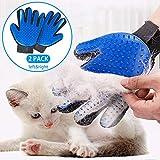 Starroad-tim - Guante de cuidado para mascotas con cepillo suave para deshedding eficiente para mascotas, guantes de masaje para mascotas, mano izquierda y derecha, para perros, gatos, caballos con pelo largo o corto (azul, 1 par)