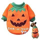 Disfraz de Calabaza para Perro LANMOK Ropa para Mascotas de Halloween Naranja Trajes Suéter de Gato Jerséis Regalo Cumpleaños para Mascota Invierno Fiesta de Pascua