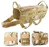 Arnés de entrenamiento del perro chaleco MOLLE táctica, Whippy Pet Chaleco con bolsillos para desmontable