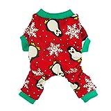 Fitwarm - Ropa para Perro, diseño de pingüino de Navidad, Color Rojo