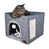 YUDOXN Casa Plegable para Gatos con Terraza,Casa para Gato Plegable,Cueva para Gatos y Perros Pequeños,Bola mullida para Colgar y rascar,44x44x36cm, Gris