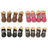 Barco de Estados Unidos perro Australia botas mascotas antideslizante zapatos invierno cálido antideslizante zapatillas Paw protectores 4-PCS Set con 1pc anillo de pelo