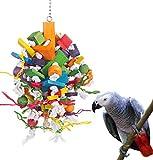 KINTOR - Juguete para Masticar pájaros, tamaño Grande, tamaño Mediano, para Loro, Juguetes de Cometa Africana, Color Gris