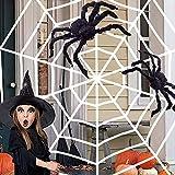 Halloween Araña Felpa,2.5m Telaraña +1 Piezas 30cm Arañas +1 Piezas 50cm Arañas,Falsos Accesorios De ArañAs Peludas Y Aterradoras Para Decoraciones De Halloween,Fiesta De Patio Interior Al Aire Libre