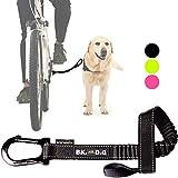 BIKE AND DOG Correa de Perro para pasear en Bicicleta uno o más Perros, se coloca sin Herramientas en el Eje de la Rueda Trasera Donde el Perro ejerce la Menor Fuerza. Producto Patentado. Color Negro