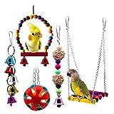 Bwogue Juguete para columpio de pájaros con campanas, jaula de loro para mascotas, hamaca colgante de juguete para periquitos, pájaros de amor, conurre pequeñas pinzas de periquito, cacatúas (5 unidades)