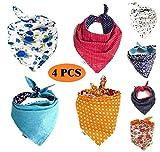 Funpet - 4 Baberos Bandana Triangulares para Perro, Bufandas de Colores Brillantes, Accesorios para Mascotas, Gatos, Cachorros