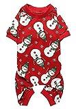 Lanyar Bonita Ropa para Perros pequeños de Pajamas, 100% algodón, Copo de Nieve, Color Rojo