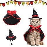 Tuofang Disfraz de Halloween para Mascotas, Disfraz de Mascota de Halloween, Capa de Bruja de Mascotas para Perros y Gatos, Sombrero de Bruja de Mascotas, Ideal para Halloween, Navideño Cosplay