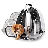 Lollimeow Mochila portadora para mascotas, portabebés, gatos y cachorros, aprobada por la aerolínea, diseñada para viajes, senderismo, senderismo y uso al aire libre (negro expansible)
