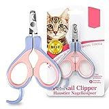 EooCoo Cortauñas para Gato y Cachorro, Acero Inoxidable Cortador de uñas Profesionales para Animales pequeños, Diseño Curvo de 25 Grados