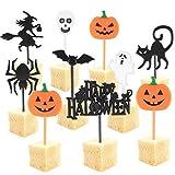 Decoración para Pastelesde de Halloween, 100 PCS Cupcake Topper, Halloween Cupcake Picks con Bruja Fantasma Murciélago, Calabaza, Araña, Gato, Negro, Magdalenas, Decoración para Fiestas de Halloween