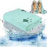 Bangcool 2PCS Toalla para Mascotas Pata Diseño Toalla Absorbente para Perros Toalla de baño para Perros con Cepillo de baño para Mascotas