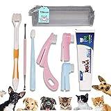 Tokcom Juego de Cepillo de Dientes Para Mascotas, Cepillo de Dientes Suave con Pasta de Dientes, Cepillo de Dedos, kit de Cepillo de Dientes Para Mascotas Para Perros y Gatos