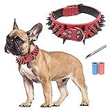 Collar de cuero para perro, elegantes individualidad collar de perro con pinchos tachuelas, anti-mordida, ajustable ajuste para perros medianos y grandes, perforadora de cuero gratis y bolsa de basura