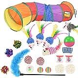 Juguetes Para Gatos 20 Piezas Juguetes Gatos, Juguetes Para Gatos Interactivos con Campanas y Plumas y Túnel y Ratón y Bolas Varias,Gatos Interactivo Varita