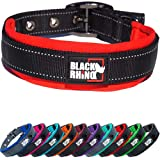 Black Rhino el Comfort Collar Collar de Perro Ultra Suave Neopreno Acolchado para Todas Las Razas de Altas prestaciones Ajustable Reflectante Resistente a la Intemperie (Grande, Rojo/Negro)