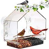 Comedero de ventana grande superior para pájaros GARANTIZADO DE POR VIDA. Incluye bandeja fácilmente extraíble, 4 ventosas de uso industrial , agujeros de drenaje y envases con estilo. ¡Disfruta de los pájaros silvestres de cerca! ¡Un regalo impresionante de comedero para los amantes de los pájaros, niños e incluso de los gatos!