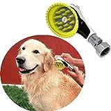 Wondurdog - Lavado de perro al aire libre con adaptador de metal   Se fija a manguera de jardín estándar   innovador cepillo de ducha con escudo antisalpicaduras   Mantén el agua lejos de orejas de perro, ojos y tú mismo!