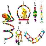 Welltop Juguetes para Pájaros, 6 Piezas Perchas Pájaros Juguetes con Campanas, Escalera de Madera, Columpios, Hamaca de Madera, Que cuelga la Perca Juguete para pequeños y medianos Loros de Aves