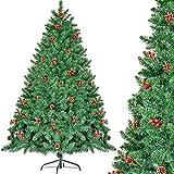 CHORTAU Árbol de Navidad 180cm con piñas y Bayas, 800 Puntas Ramas Árbol Artificial, Verde, Material de PVC, Ignífugo, Impermeable 1.8M Árbol de Navidad con Soporte de Metal, Decoración navideña
