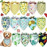 14 Bandanas de Perros de Verano Bandana Lavable de Mascotas Bufanda Triangular de Flamenco Babero Ajustable de Hawai Pañuelo de Frutas Selva Tropical para Perros Pequeños Medianos