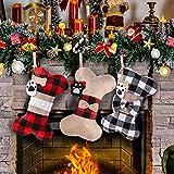 Calcetín de Navidad para Perros, 3 Piezas Calcetines Navideños Grandes para Mascotas con Diseño de Hueso de Perro, Medias de Navidad Bolsa de Regalo para llenar y Colgar, para Chimenea