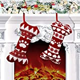 Calcetín de Navidad para Perros, 2 Piezas Grandes Calcetines Navideños para Mascotas, Medias de Regalo de Saco de Navidad para llenar y Colgar, para Chimenea, Árbol de Navidad