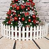 Hrpa White Plastic Picket Fence Árboles de Navidad Que decoran para el árbol de Navidad Inicio Boda Fiesta Festiva (4 Piezas)